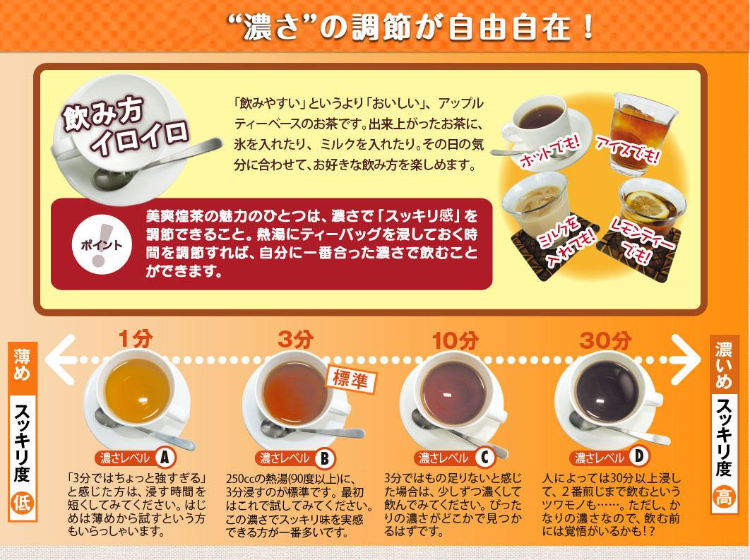 美爽煌茶(びそうこうちゃ)はスッキリ度の調節が自由自在!